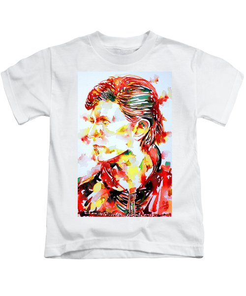 David Bowie Watercolor Portrait.1 Kids T-Shirt