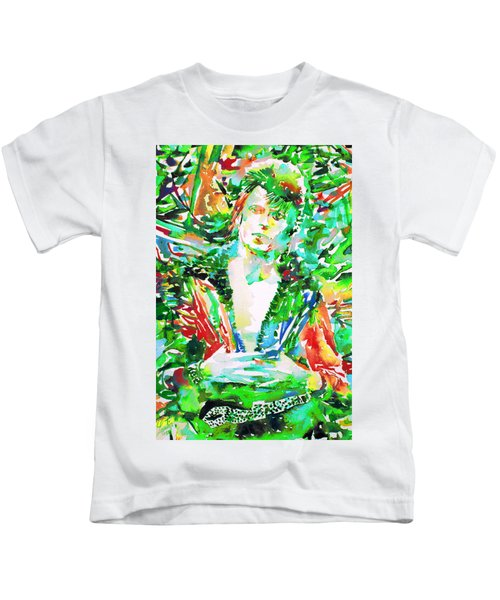 David Bowie Watercolor Portrait.2 Kids T-Shirt