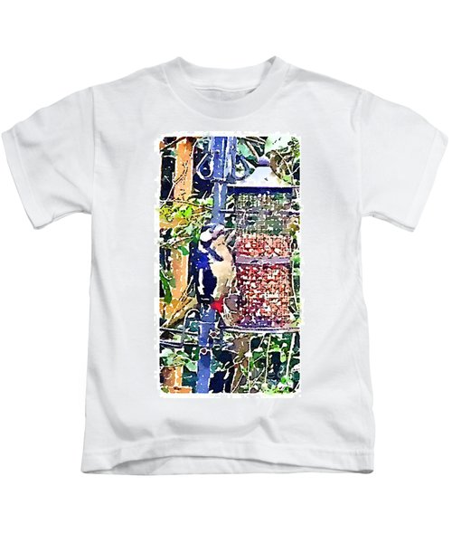 Dendrocopos Major 'great Spotted Woodpecker' Kids T-Shirt