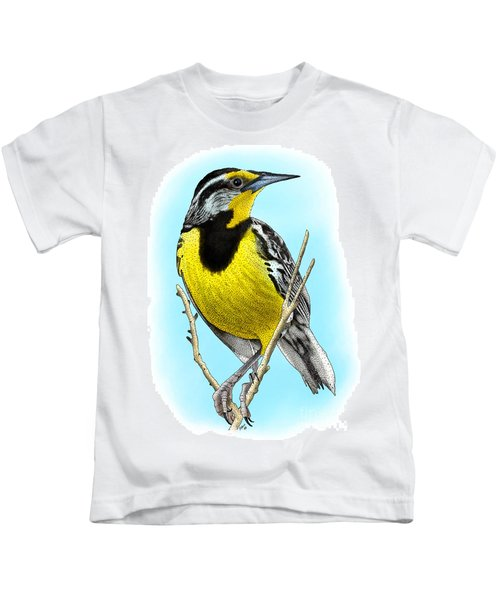 Eastern Meadowlark Kids T-Shirt by Roger Hall