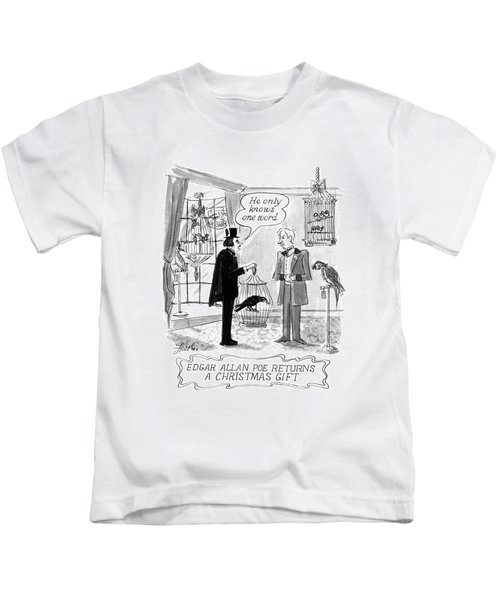 Edgar Allan Poe Returns A Christmas Gift Kids T-Shirt