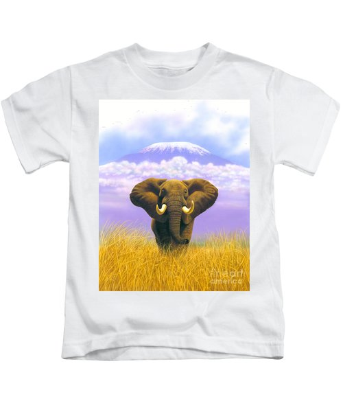 Elephant At Table Mountain Kids T-Shirt