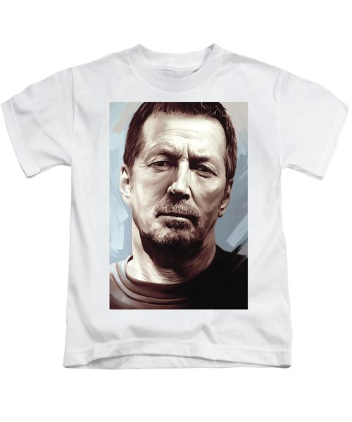 Eric Clapton Artwork Kids T-Shirt by Sheraz A