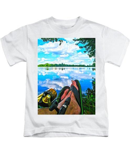 Feet Up Fishing Crab Orchard Lake Kids T-Shirt
