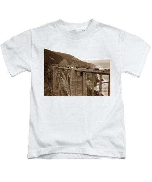 First Cars Across Bixby Creek  Bridge Big Sur California  Nov. 1932 Kids T-Shirt