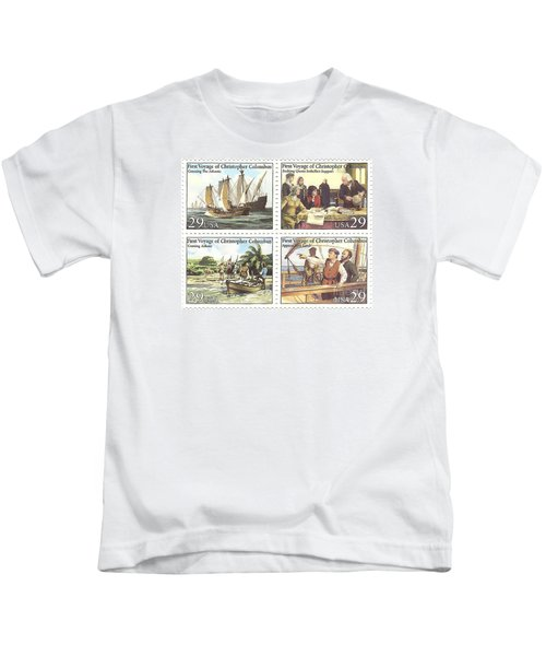 First Voyage Of Christopher Columbus Commemorative Stamp Block Kids T-Shirt
