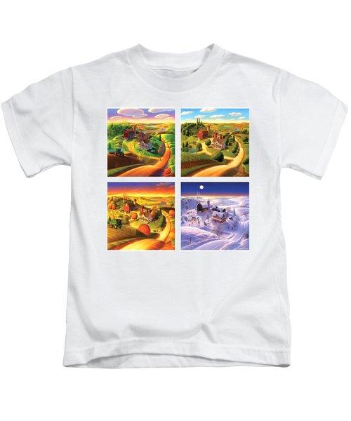 Four Seasons On The Farm Squared Kids T-Shirt