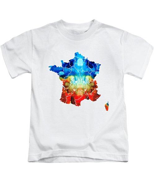 France - European Map By Sharon Cummings Kids T-Shirt by Sharon Cummings