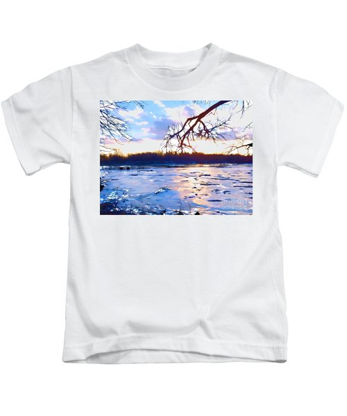 Frozen Delaware River Sunset Kids T-Shirt