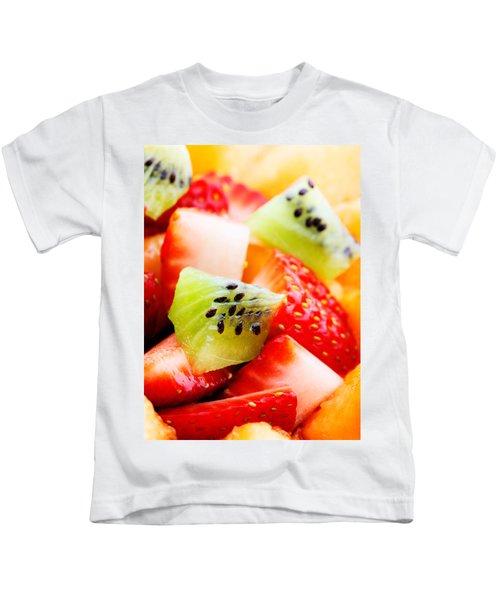 Fruit Salad Macro Kids T-Shirt by Johan Swanepoel