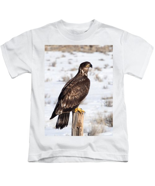 Golden Eagle On Fencepost Kids T-Shirt