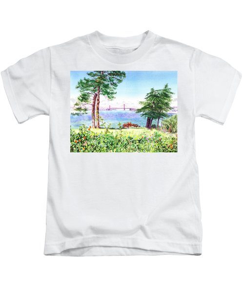 Golden Gate Bridge View From Lincoln Park San Francisco Kids T-Shirt