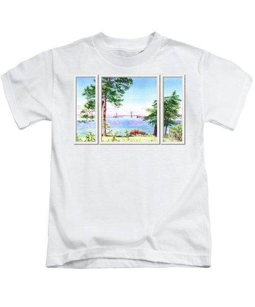 Golden Gate Bridge View Window Kids T-Shirt