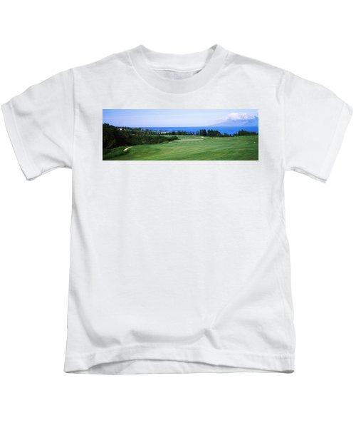Golf Course At The Oceanside, Kapalua Kids T-Shirt