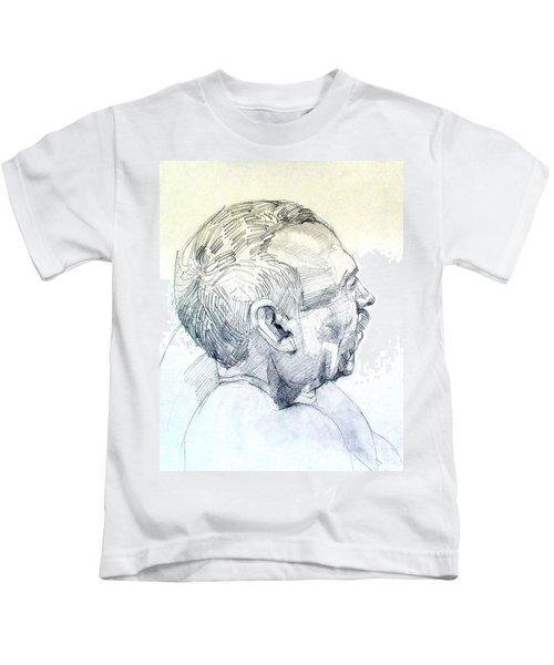 Graphite Portrait Sketch Of A Man In Profile Kids T-Shirt