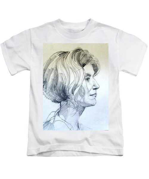 Portrait Drawing Of A Woman In Profile Kids T-Shirt