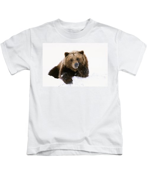 Grizzly Resting Head On Paw While Kids T-Shirt