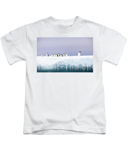 Group Of Penguins Standing On Iceberg Kids T-Shirt
