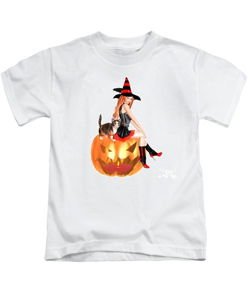 Halloween Witch Nicki With Kitten Kids T-Shirt by Renate Janssen