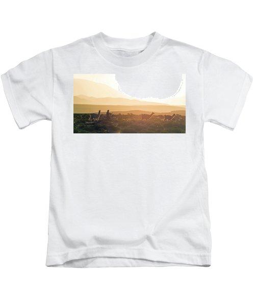 Herd Of Llamas Lama Glama In A Desert Kids T-Shirt by Panoramic Images