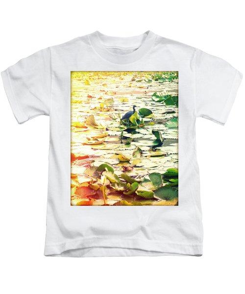 Heron Among Lillies Photography Light Leaks Kids T-Shirt