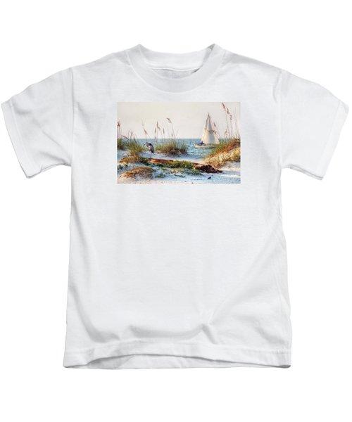 Heron And Sailboat Kids T-Shirt