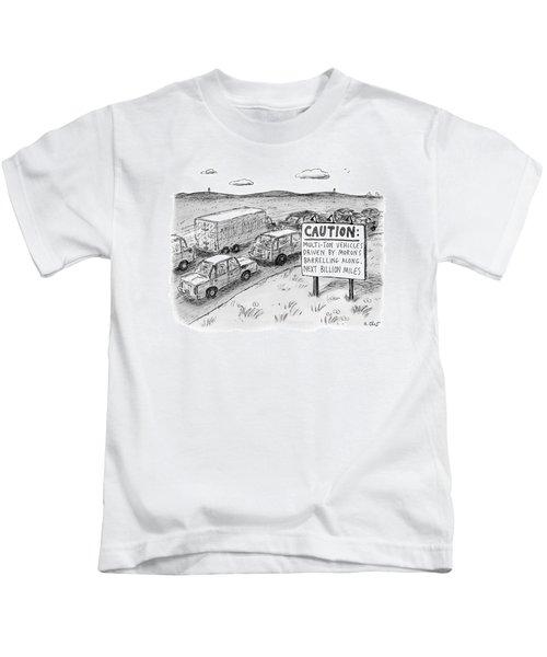 Highway Sign -- Caution: Multi-ton Vehicles Kids T-Shirt