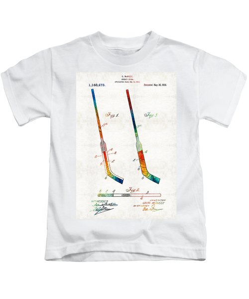 Hockey Stick Art Patent - Sharon Cummings Kids T-Shirt