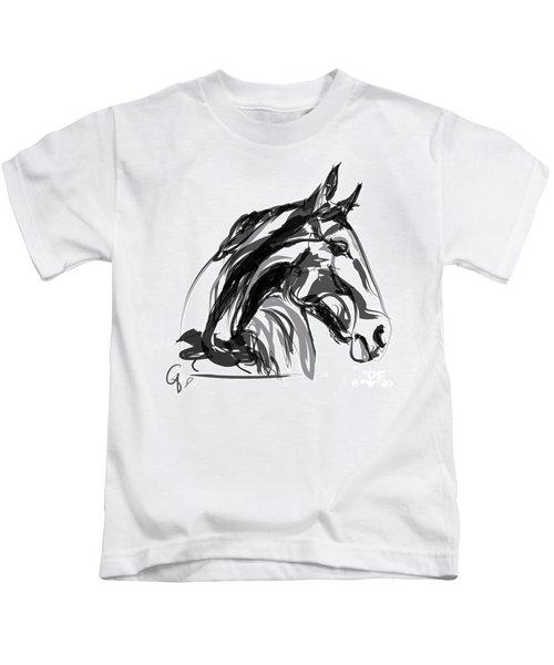 Horse- Apple -digi - Black And White Kids T-Shirt
