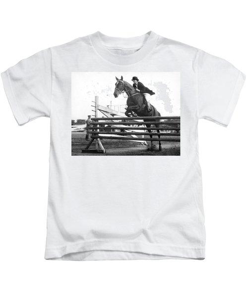 Horse Taking Jump Kids T-Shirt