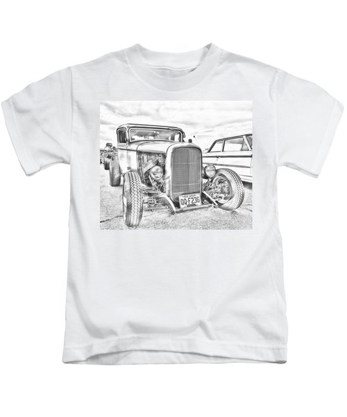Hot Rod Faux Sketch Kids T-Shirt