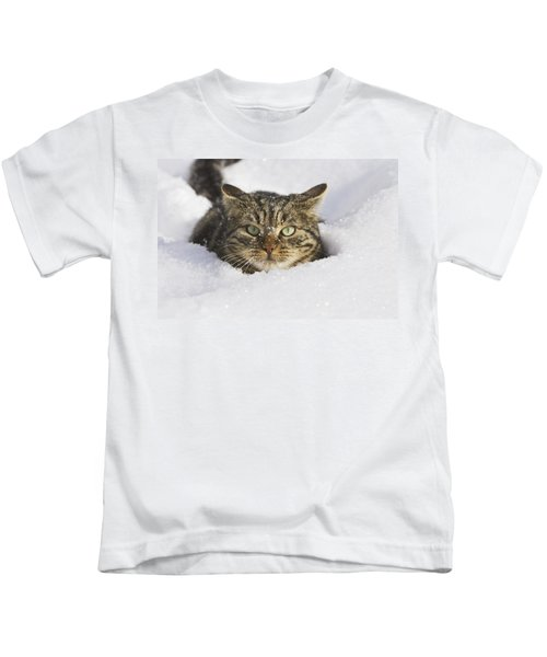 House Cat In Deep Snow Germany Kids T-Shirt