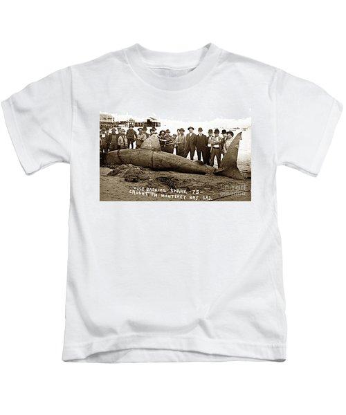 Huge Basking Shark Near Fishermans Wharf Monterey California Circa 1912 Kids T-Shirt