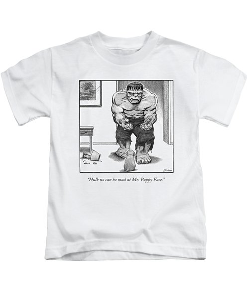 Hulk No Can Be Mad At Mr. Puppy Face Kids T-Shirt