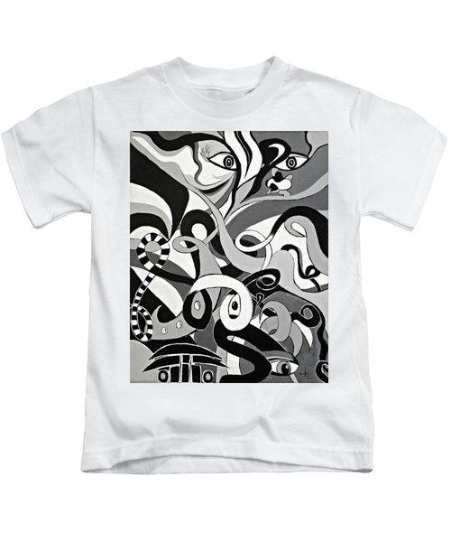 Black And White Acrylic Painting Original Abstract Artwork Eye Art  Kids T-Shirt
