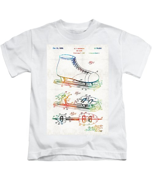 Ice Skate Patent - Sharon Cummings Kids T-Shirt