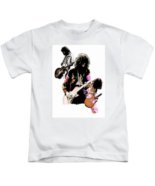 In Flight Iv Jimmy Page  Kids T-Shirt by Iconic Images Art Gallery David Pucciarelli