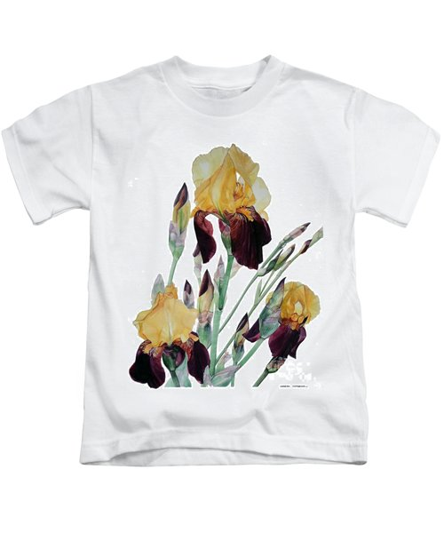 Watercolor Of Tall Bearded Iris In Yellow And Maroon I Call Iris Beethoven Kids T-Shirt
