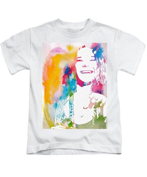 Janis Joplin Watercolor Kids T-Shirt