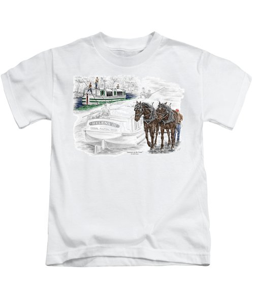 Journeys On The Canal - Canal Boat Print Color Tinted Kids T-Shirt