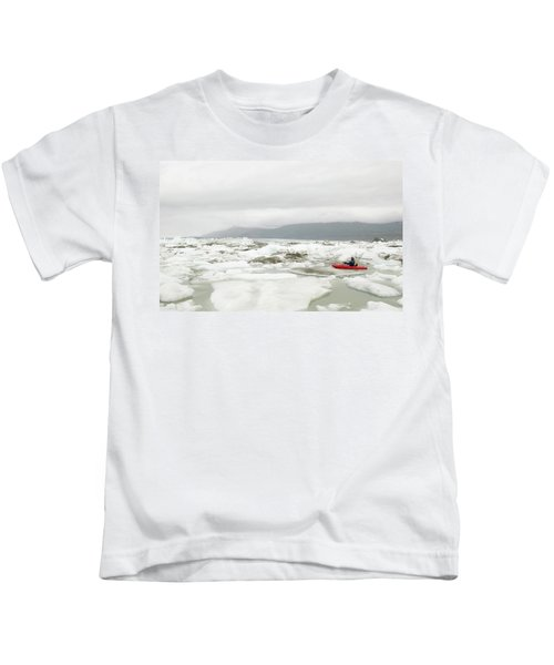 Kayaker Navagating Ice In Lowell Lake Kids T-Shirt