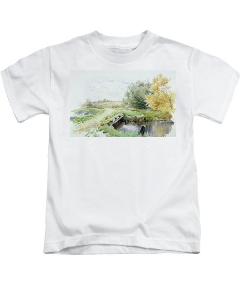 Landscape With Bridge Over A Stream Kids T-Shirt