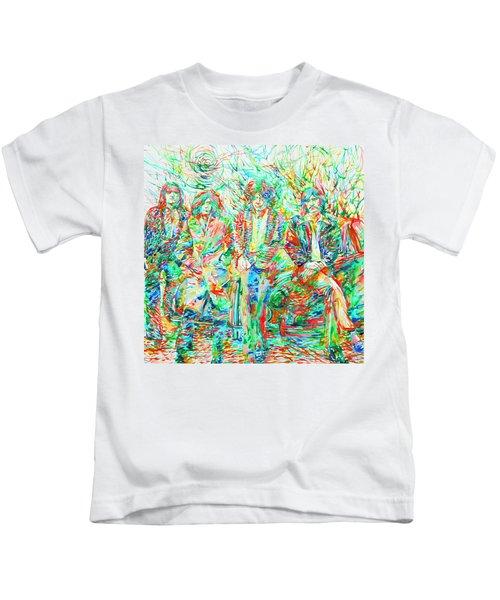 Led Zeppelin - Watercolor Portrait.1 Kids T-Shirt by Fabrizio Cassetta