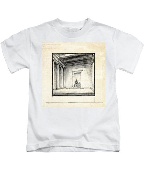 Lincoln Memorial Sketch IIi Kids T-Shirt by Gary Bodnar