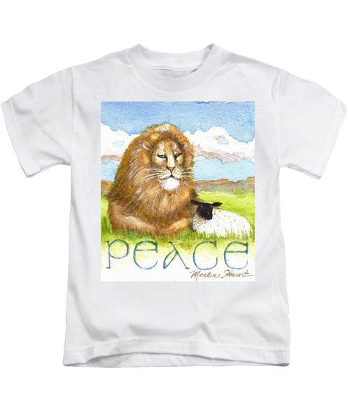 Lion And Lamb - Peace  Kids T-Shirt