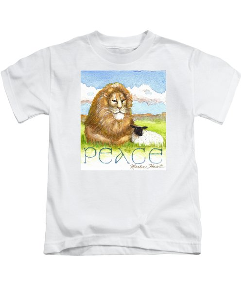 Lion And Lamb - Peace  Kids T-Shirt