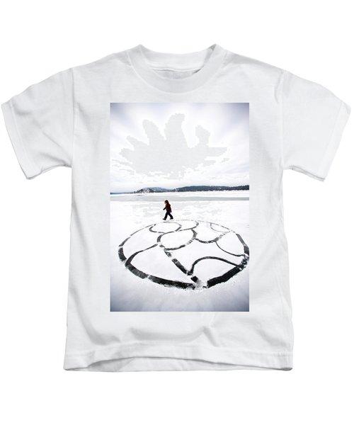 Little Girl Walking Around Large Design Kids T-Shirt
