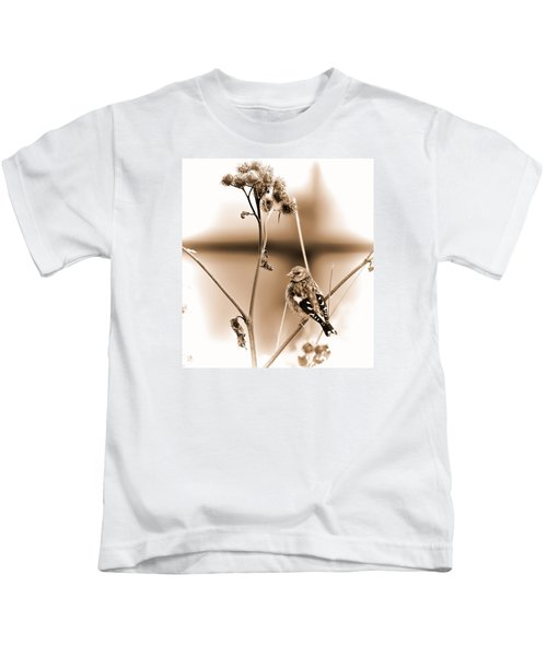 Looking Sep Small Brown Grey Yellow And Black Bird Posing For Portrait On A Branch Of A Plant Kids T-Shirt