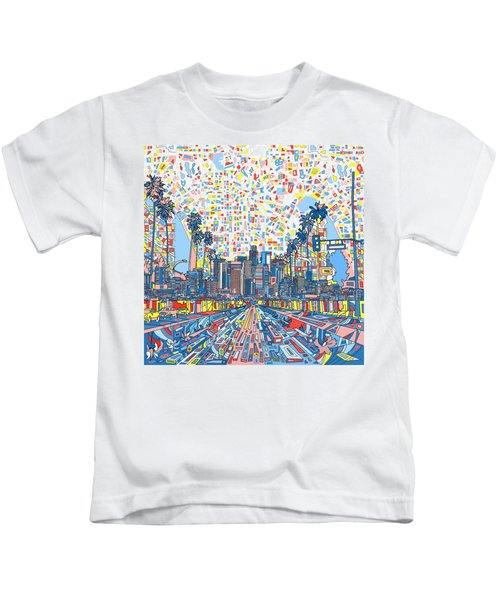 Los Angeles Skyline Abstract 3 Kids T-Shirt