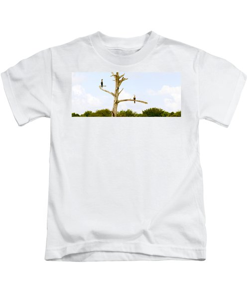 Low Angle View Of Cormorants Kids T-Shirt